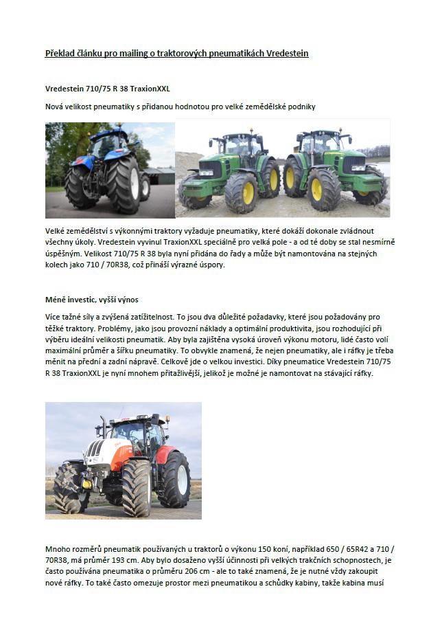 Traktorové pneu Vredestein